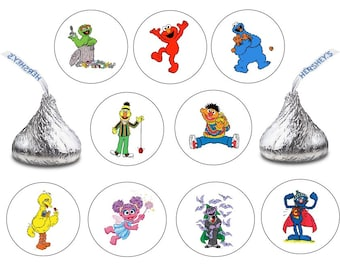 162 Assorted Hershey KISS Stickers Labels Sesame Street Birthday Party Favors Candy Elmo