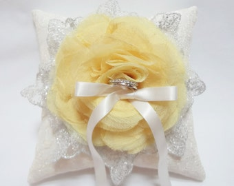 Wedding ring pillow - canary yellow ring pillow, lace ring pillow, ring bearer pillow, wedding ring cushion