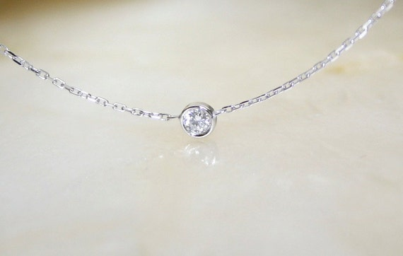 Solitaire diamond and 18k white gold necklace bezel set like this item mozeypictures Images