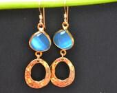 Aqua  earrings,loop earring, Gemstones earrings, bezel set earrings