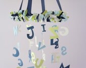 ABC Nursery Mobile Decor in Blues, Green & White- Alphabet Baby Boy Nursery Decor, Baby Shower Gift