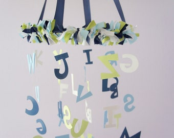 ABC Nursery Mobile Decor in Blues, Green & White- Alphabet Baby Boy Nursery Decor, Baby Shower Gift