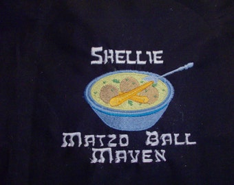 Personalized  Embroidered Matzo Ball Maven Passover Apron, Judaica, Jewish Holiday Apron, Jewish Penicillin