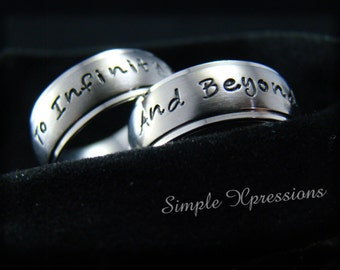 2 Rings - To Infinity and Beyond Rings - Personalized Couples Rings