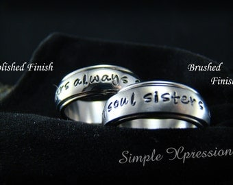 Spinner Ring - Personalized Hand Stamped Spinner Ring with Brushed or Polished Finish