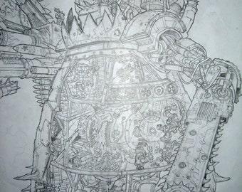 Ork STOMPA - Original Black & White Illustration for GW White Dwarf publication.