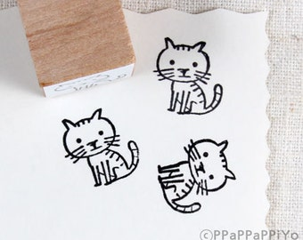 cute cat Rubber stamp SC02