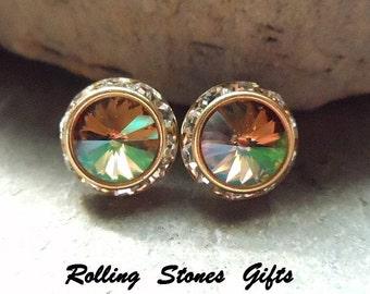 12mm Waterlily and Gold Swarovski Rivoli Surrounds Rhinestone Stud Earrings-Large Waterlily Swarovski Crystal Studs-Color Changing Studs