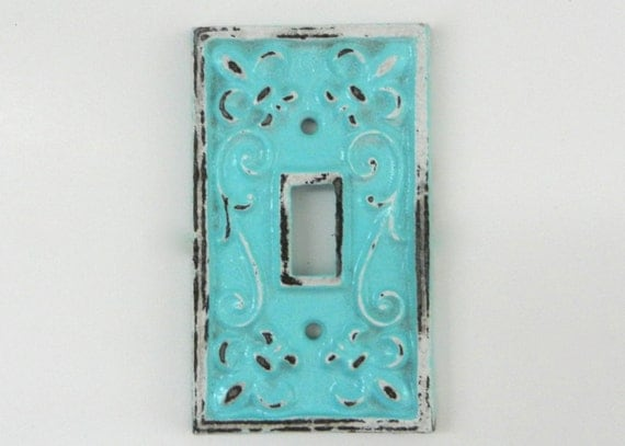 Aqua switch plate cast iron covers decorative fixture shabby - Wrought iron switch plate covers ...