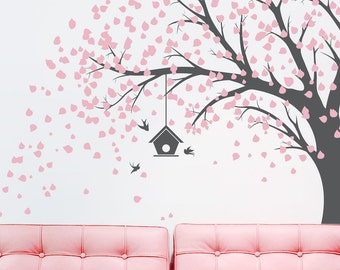Large Windy Tree with Birdhouse Wall Decal -Windy Tree, Nature Wall Decal, Living Room Wall Decal, Tree Wall Sticker, Falling Leaves