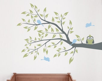 "Owl and Four Birds on a Branch Wall Decal 36"" x 26"" -Branch Wall Art, Nature Wall Decal, Owl Branch Decal, Tree Wall Sticker, Nursery Branch"