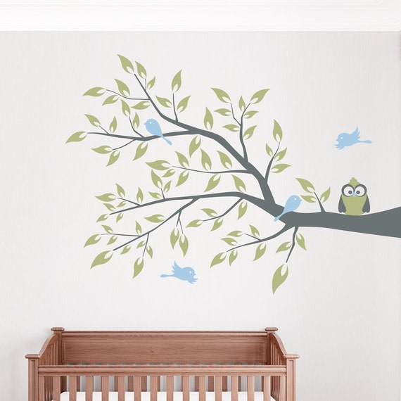 Owl and four birds on a branch wall decal 36 x 26 for Bird and owl tree wall mural set
