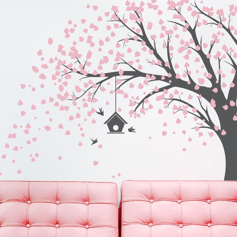 Large Windy Tree With Birdhouse Wall Decal Windy Tree Nature