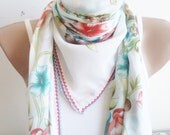 Women scarf, Spring Trends, scarf, stylish accessory, White thin scarf, women fashion, spring, wedding scarf,  Women accessories, mom gifts