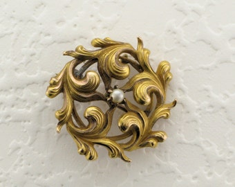 Yellow Gold Victorian Pearl Pin/Pendant; Victorian Pin with Pearl; Victorian Pendant with Pearl; Victorian Circle Pin, Antique Pin, Pin