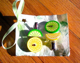 Funky Citrus Hairclips (Lime-Yellow)