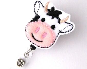 Bessie Cow - Name Badge Holders - Cute Badge Reels - Pediatric Retractable ID Badge Holder - Felt Badge Reel - RN Badge - BadgeBlooms