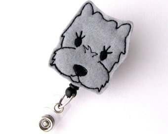 Grey Westie - Name Badge Holders - Cute Badge Reels - Unique Retractable ID Badge Holder - Felt Badge Reel - RN Badge - BadgeBlooms