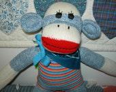 Blue Denim Classic Red Heel Sock Monkey Doll In Striped Sweater