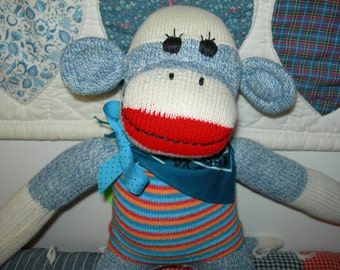 Blue Denim Classic Red Heel Sock Monkey Doll In Striped Sweater