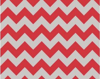 Medium Chevron Red/Gray by Riley Blake Designs Half Yard Cut