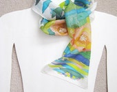Hand painted silk scarf. Floral. Multicolor--Pink Blue Green Turquoise Lime. 52'' x 8''