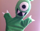 Kids Toys Stuffed Toys Monster Hand Puppet One Eye Green Fuzzy Soft OOAK