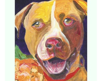 Pitbull - Rescue Dog -Limited Edition Print  -Dog Art   - Multi-colored with Purple Background