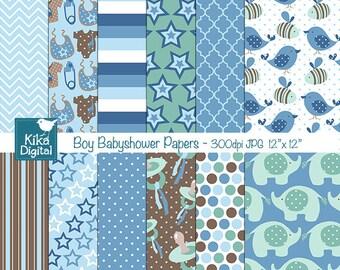 Boy Babyshower Digital Papers - Blue Digital Scrapbooking Papers - card design, invitations, background, web design - INSTANT DOWNLOAD