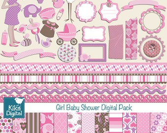 Girl Baby Shower Digital Clipart and Paper COMBO - Scrapbooking , card design, invitations, paper crafts, web design - INSTANT DOWNLOAD
