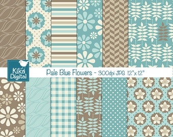 Pale Blue Flowers Digital Papers - Scrapbooking Papers - card design, invitations, paper crafts, web design - INSTANT DOWNLOAD