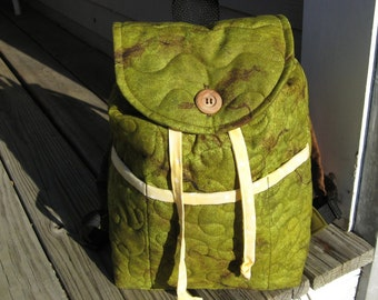 Kids backpack, , handmade quilted boys bookbag, olive green rucksack, monogram ready