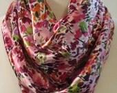 Beautiful Pink Burgundy Multi Colored Splatter Print  Lightweight Square Spring Fabric Fashion Scarf