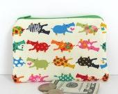 Kids Coin Purse / Zipper Pouch Kawaii Hippos - small Padded Gadget Bag