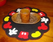 Mickey Mouse inspired mat penny rug style great centerpiece hand made