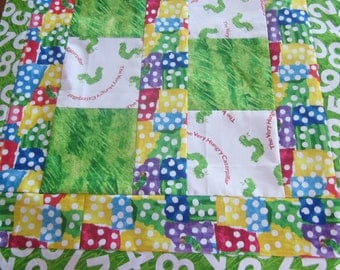 Very Hungry Caterpillar, ERIC CARLE, Baby Blanket, Quilt, Custom made, two sizes to pick from, made in the USA