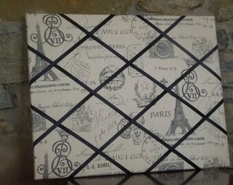16x20 French Memo Board - Paris Script with black ribbon