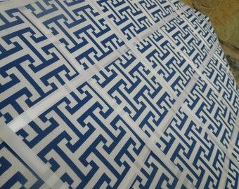 Memo Board French Memo Board Fabric Pin Board Canvas Geometric Blue and White