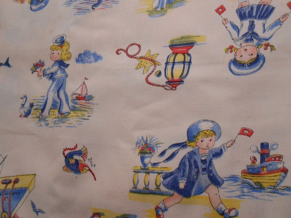 Vintage nautical children 39 s print fabric sailor girl and for Vintage childrens fabric