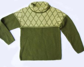Vintage Olive Diamond Hipster Sweater