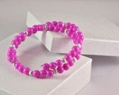 Wrap Bracelet, Memory Wire in Hot Pink