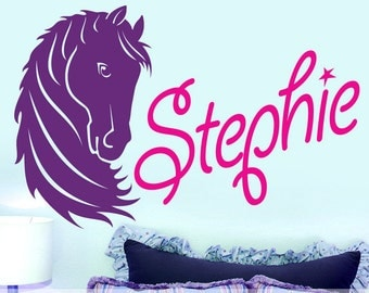 Custom Girls Name Decal | Girls Bedroom Decor | Horse Wall Decal | Baby Nursery Decor | Nursery Decal | Tween Room Decor