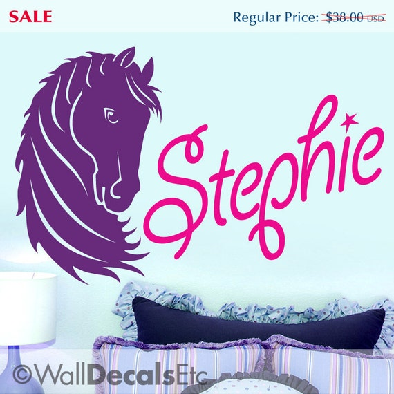 Custom Girls Name Vinyl Decal | Girls Bedroom Decor | Horse Wall Decal | Baby Nursery Decor | Nursery Decal | Tween Room Decor
