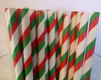 25 Red and Green Stripped Paper Straws-  Food Safe, Biodegradeable, Soy Based Ink- Christmas Decorations