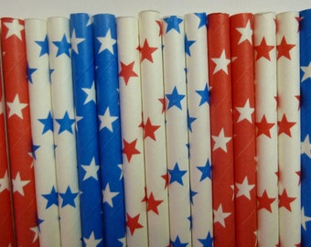 50 Mixed Patriotic Party Paper Straws- Red, White and Blue Star Straw- Summer Parties Decor, Memorial Day, Fourth of July Party