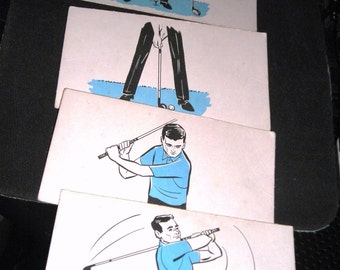 Ephemera....Flip Cards...Stop Action Animation...Vintage...What a Swing....Golfing Cards