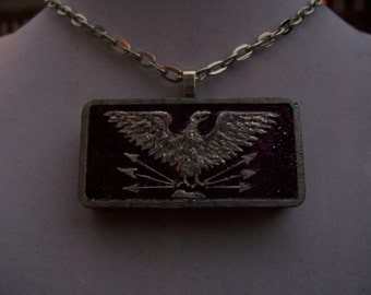 Choice of Handpainted Eagle vintage domino Game Piece Pendants  with necklace - OOAK