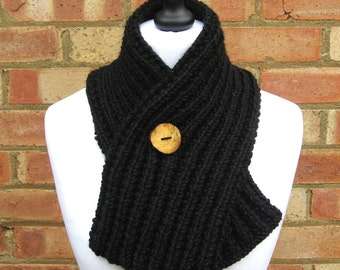 Alpaca Adjustable Cowl Adjustable Scarf  Ribbed  Button Scarf in 4 colours