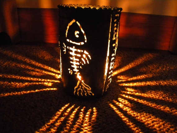 Fishbone recycled tin can luminary