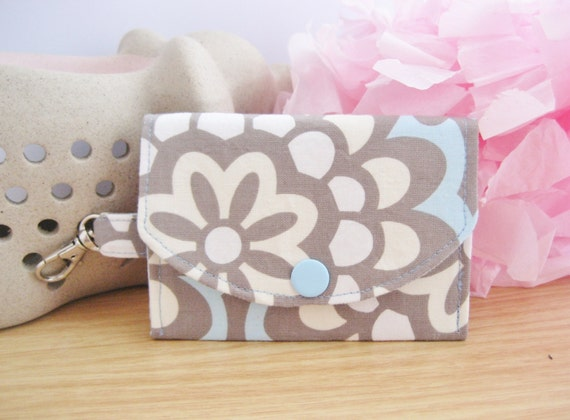 Amy Butler Sky Lotus Fabric Sandi ID Wallet, ID Holder, Coin Purse, Snap Pouch